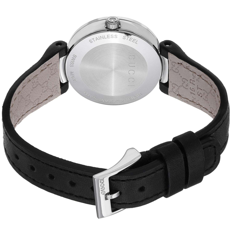 9db0a9ccc48 Shop Gucci Women s YA133501  Interlocking  Black Dial Black Leather Strap  Quartz Watch - Free Shipping Today - Overstock - 8936387