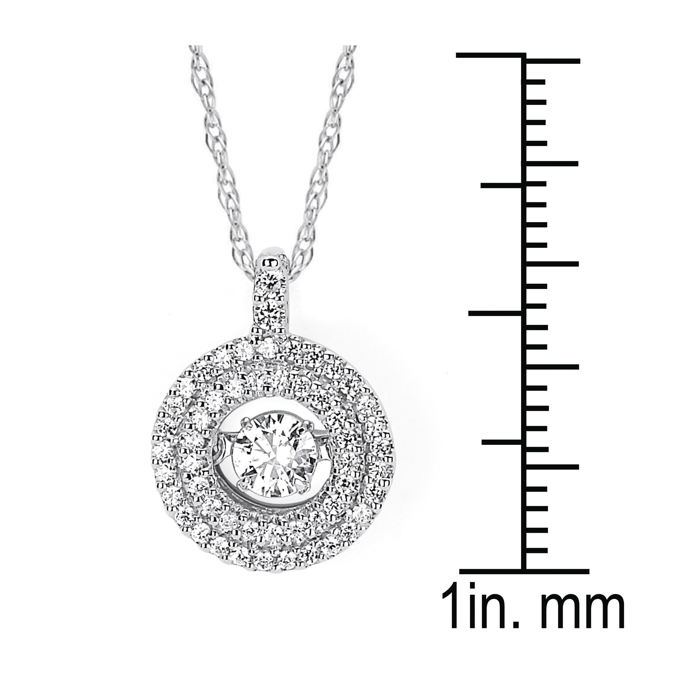 necklace diamonds signature drop classic pendant sterling circle and diamond reed in silver ribbon
