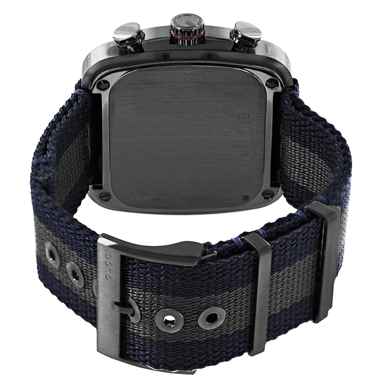 8384d4b470d Shop Gucci Men s YA131203  Coupe  Blue Dial Blue-Grey-Blue Nylon Strap  Chronograph Quartz Watch - Free Shipping Today - Overstock - 8938678