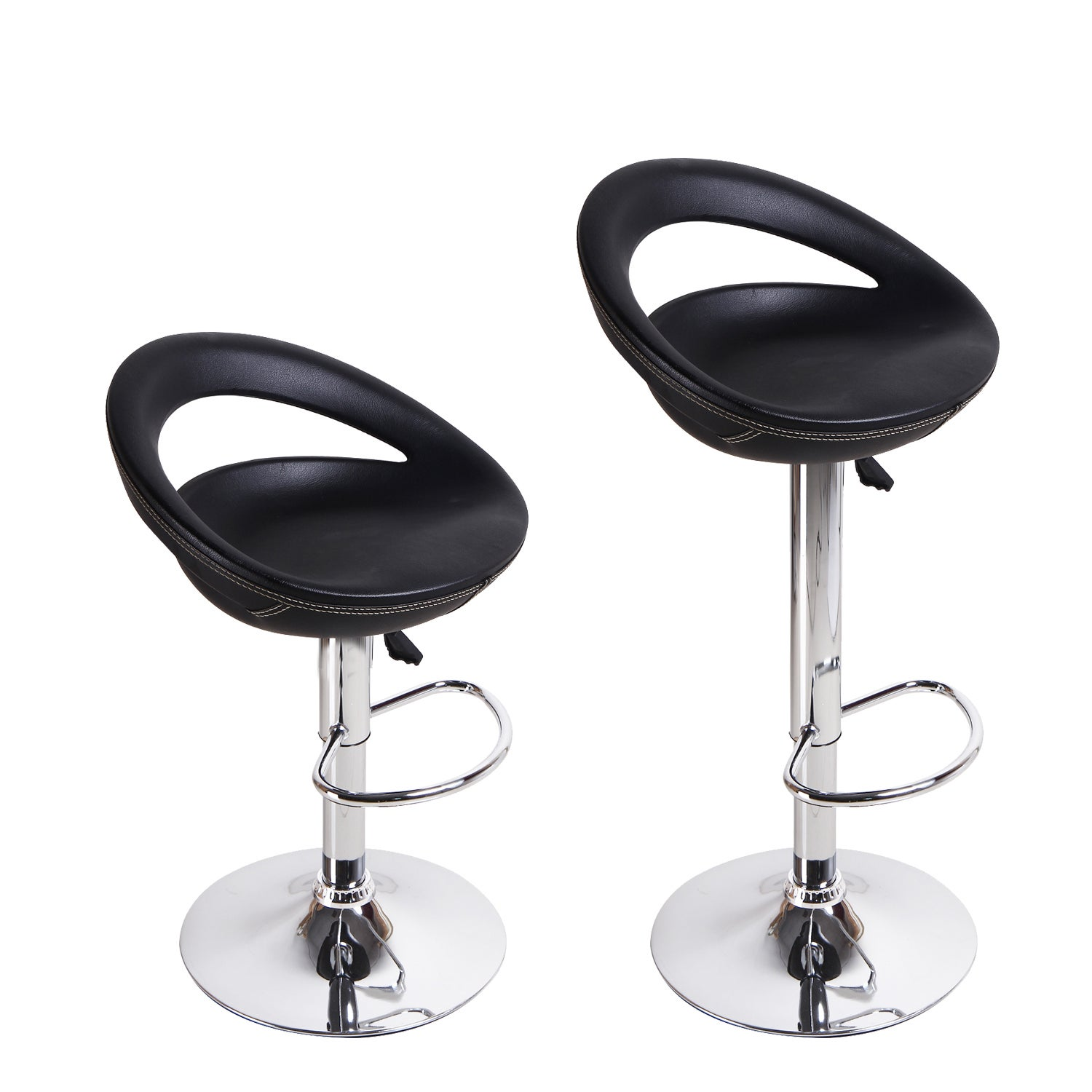 Shop Adeco Black Round Hydraulic Lift Adjustable Barstool Chairs (Set Of 2)    Free Shipping Today   Overstock.com   8939239