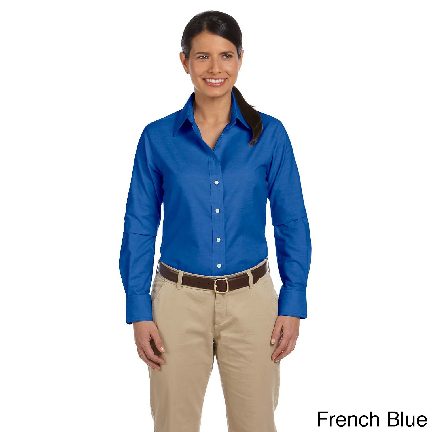 c03b93d58a4 Shop Women s Long Sleeve Oxford Shirt with Stain-release - On Sale - Free  Shipping On Orders Over  45 - Overstock - 8941858