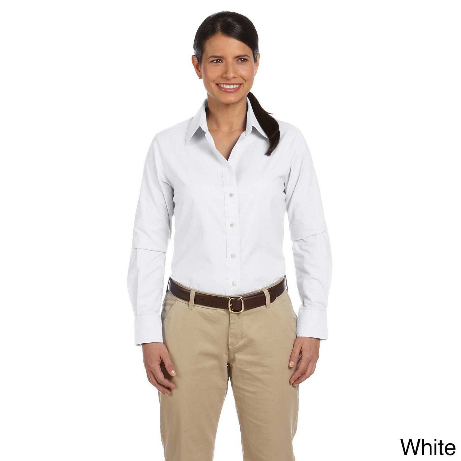 Shop Womens Long Sleeve Oxford Shirt With Stain Release On Sale