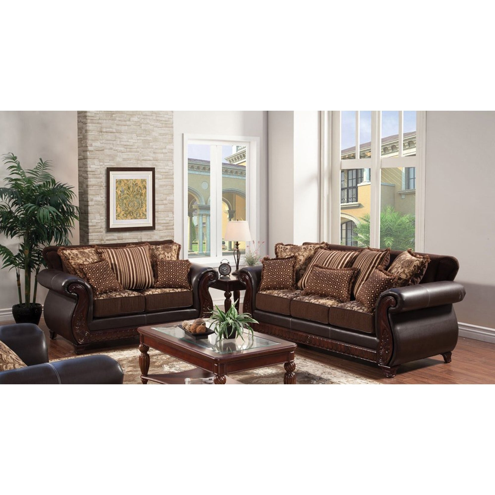 Franchesca Traditional Dark Brown 2-Piece Sofa Set by FOA