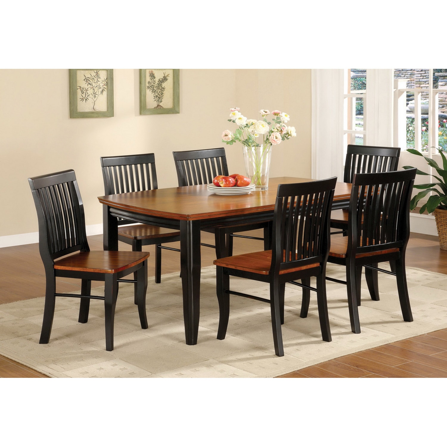 Furniture Of America Burwood Antique Oak And Black Mission Style 7 Piece  Dining Set   Free Shipping Today   Overstock   16155434