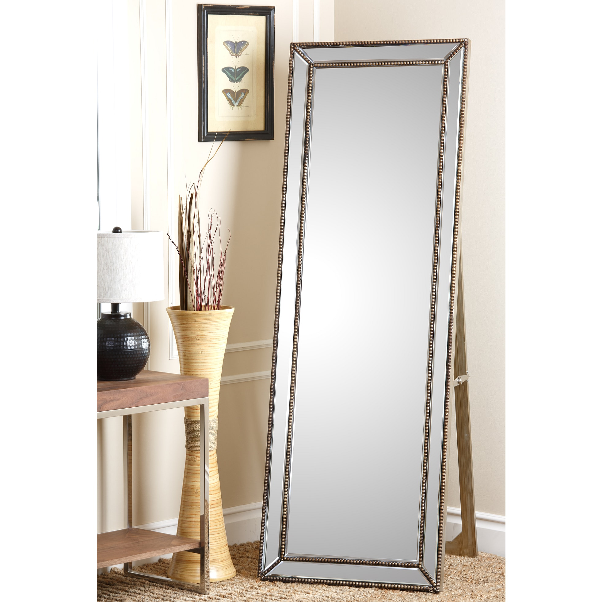 Abbyson Cosmo Silver Finish Gold Nailhead Trim Floor Mirror - Free ...