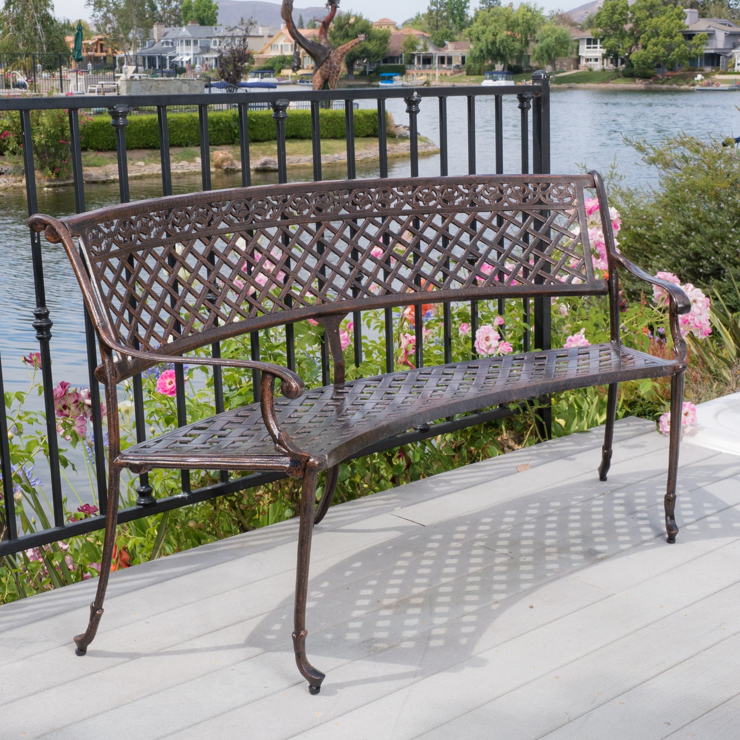adina bench garden outdoor metal itm wrought inches porch iron living chair white furniture rustic safavieh patio seat