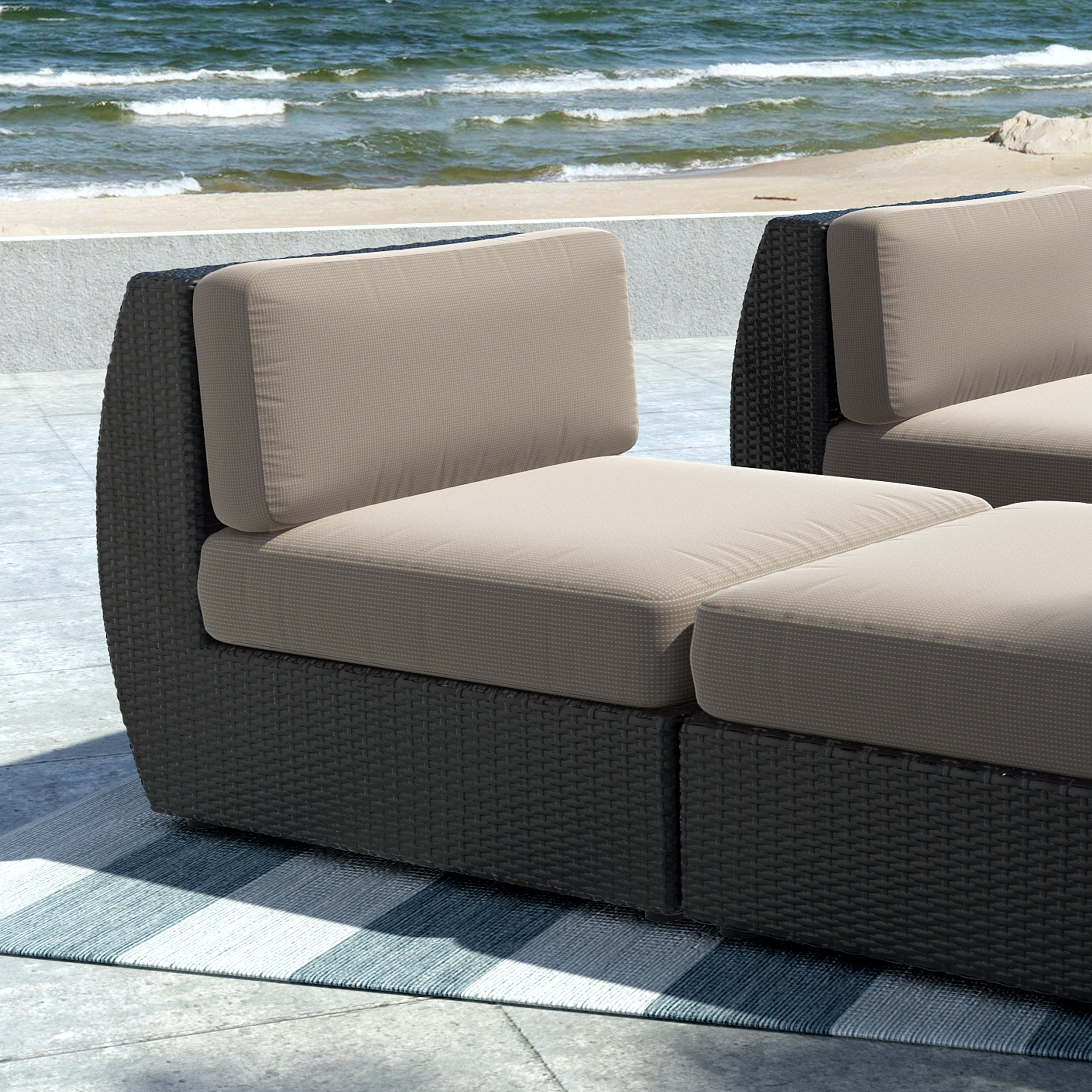 Wonderful Shop CorLiving Seattle Textured Black Weave Patio Middle Seat   Free  Shipping Today   Overstock.com   8960156