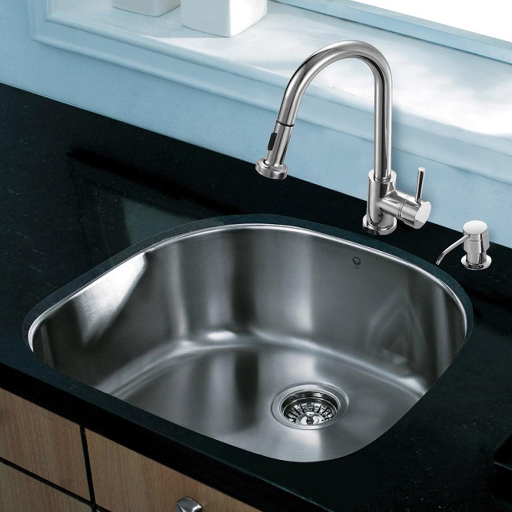 Shop VIGO All-in-One 24-inch Stainless Steel Undermount Kitchen Sink ...