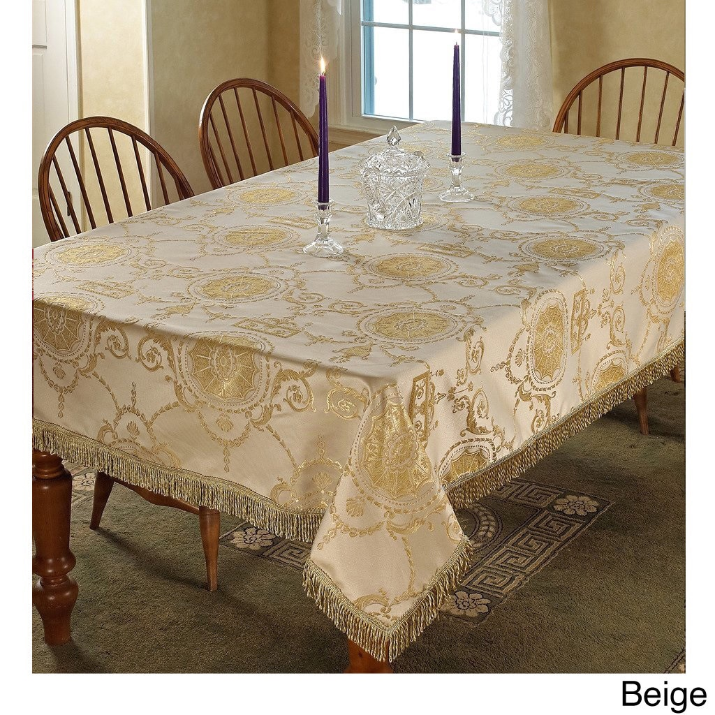 Shop Prestige Damask Design Tablecloth   On Sale   Free Shipping On Orders  Over $45   Overstock.com   8962246