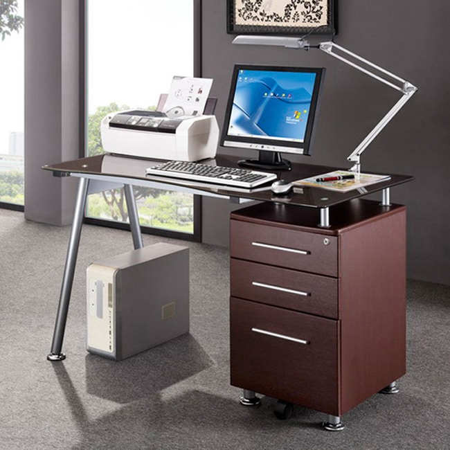 Modern Design Office Locking File Cabinet Computer Desk Free Shipping Today 8962599