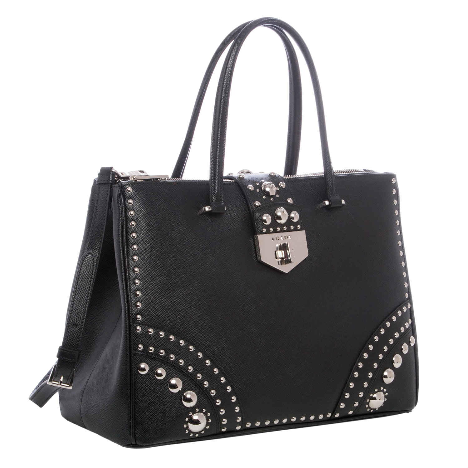 d2499d0c56d6 ... canada shop prada black saffiano leather studded tote free shipping  today overstock 8962735 291e1 b5791