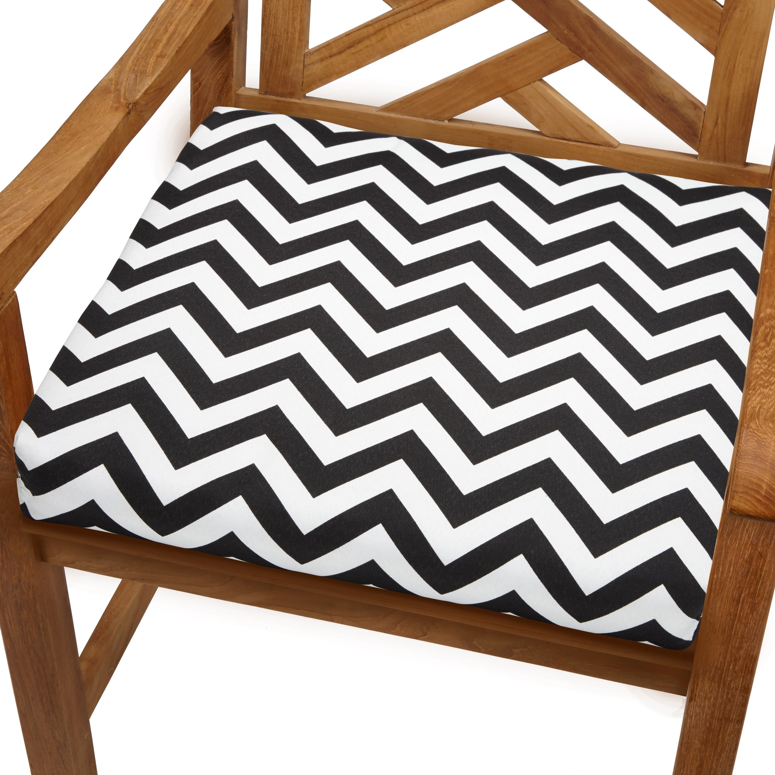 Bristol 19 inch Indoor Outdoor Black White Chevron Chair Cushion