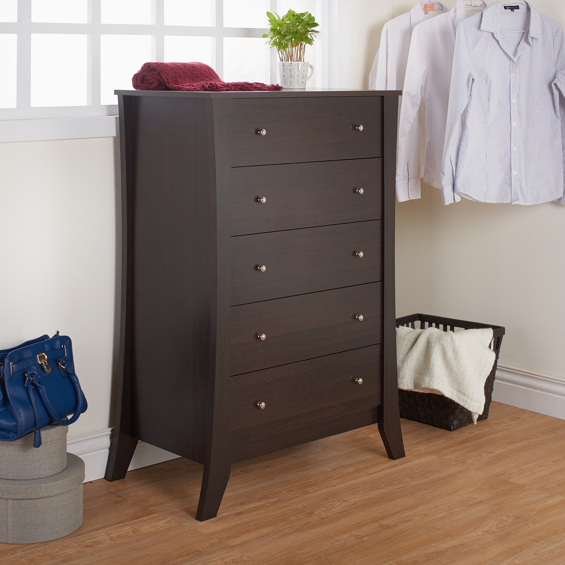 depot leather espresso drawers p of the black drawer trunks dark chest entryway benches wood home and