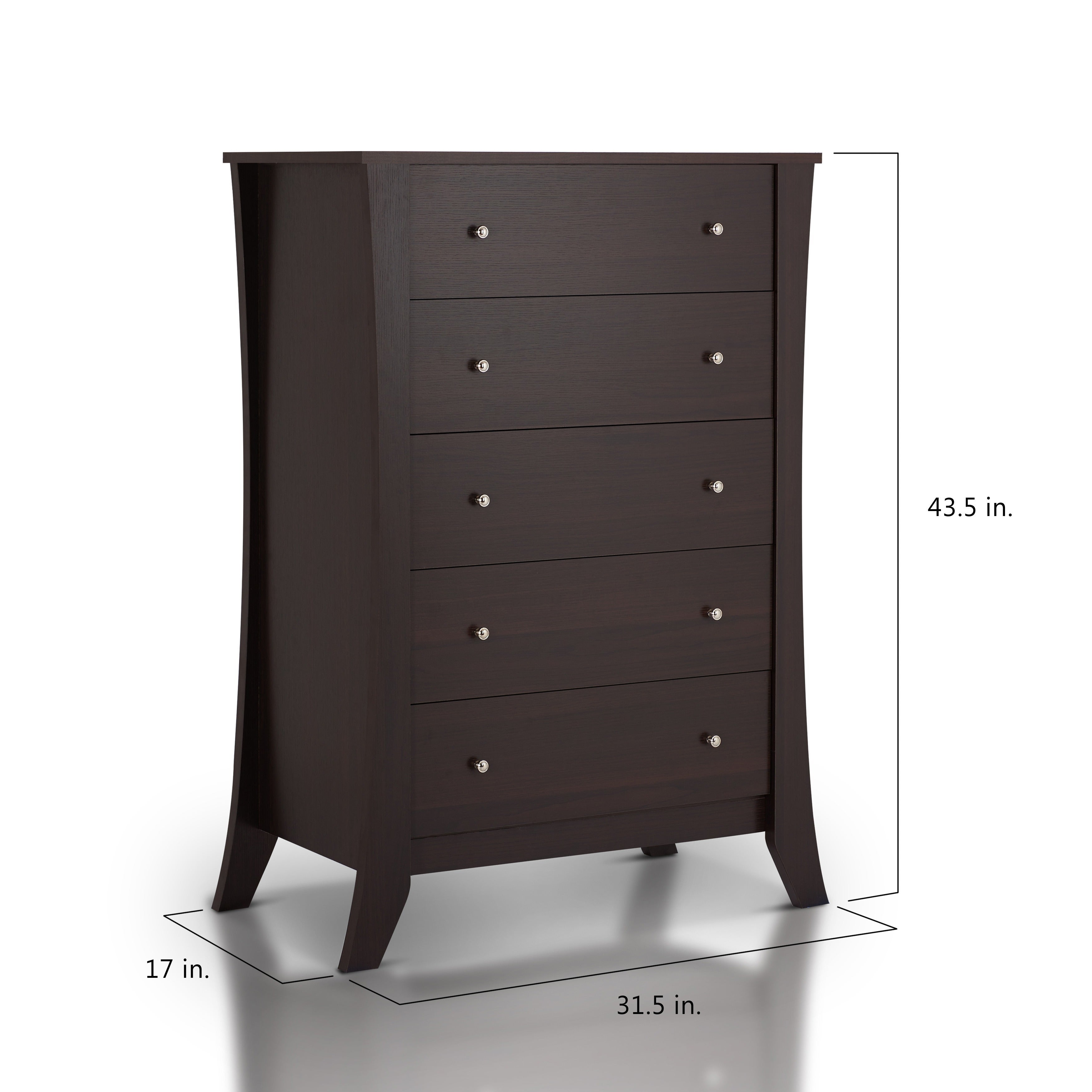 Furniture Of America Hamilton Espresso 5 Drawer Chest On Free Shipping Today 8965785