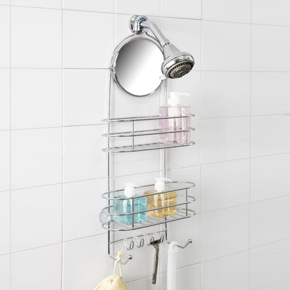 Shop Deluxe 2-tier Shower Caddy with Adjustable Mirror - Free ...