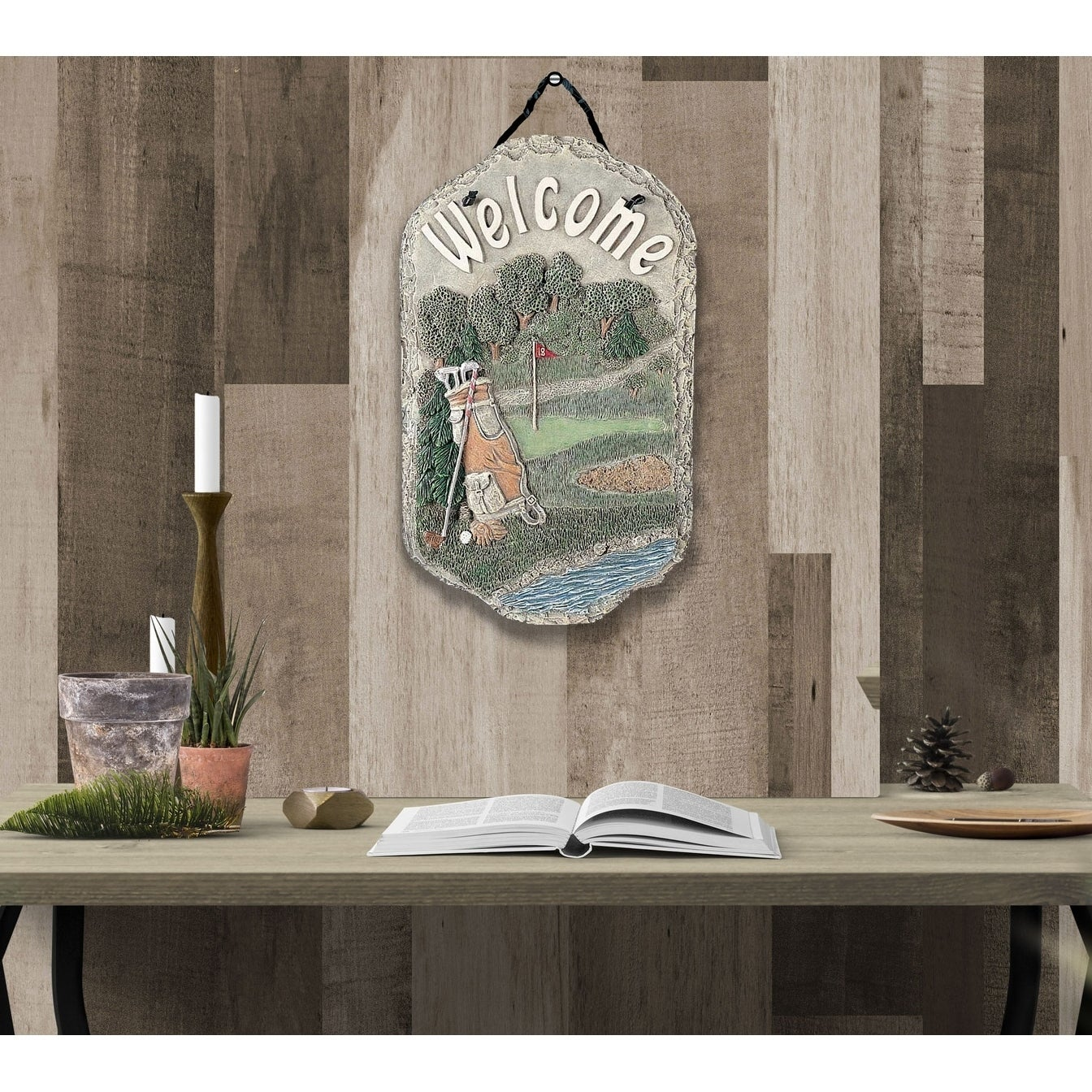 Welcome Sign Golf Porch Decor Resin Slate Plaque Ready To Hang Free Shipping On Orders Over 45 16179348