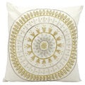 Michael Amini Beaded Sun Ivory/Gold Throw Pillow (18-inch x 18-inch) by Nourison