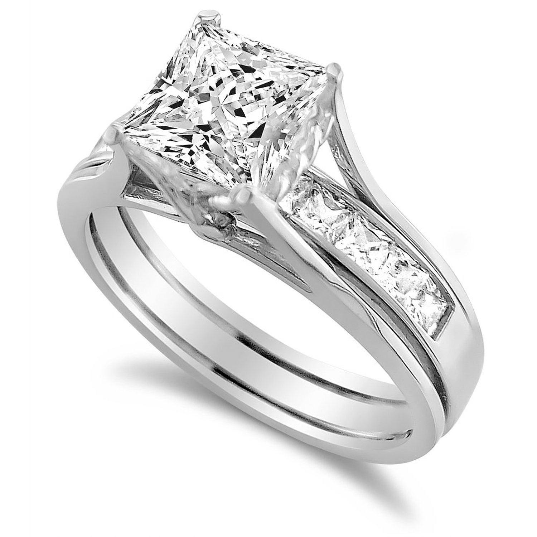 14k White Gold 1 34 Ct Princess Cut Cubic Zirconia Insert Bridal Ring Set