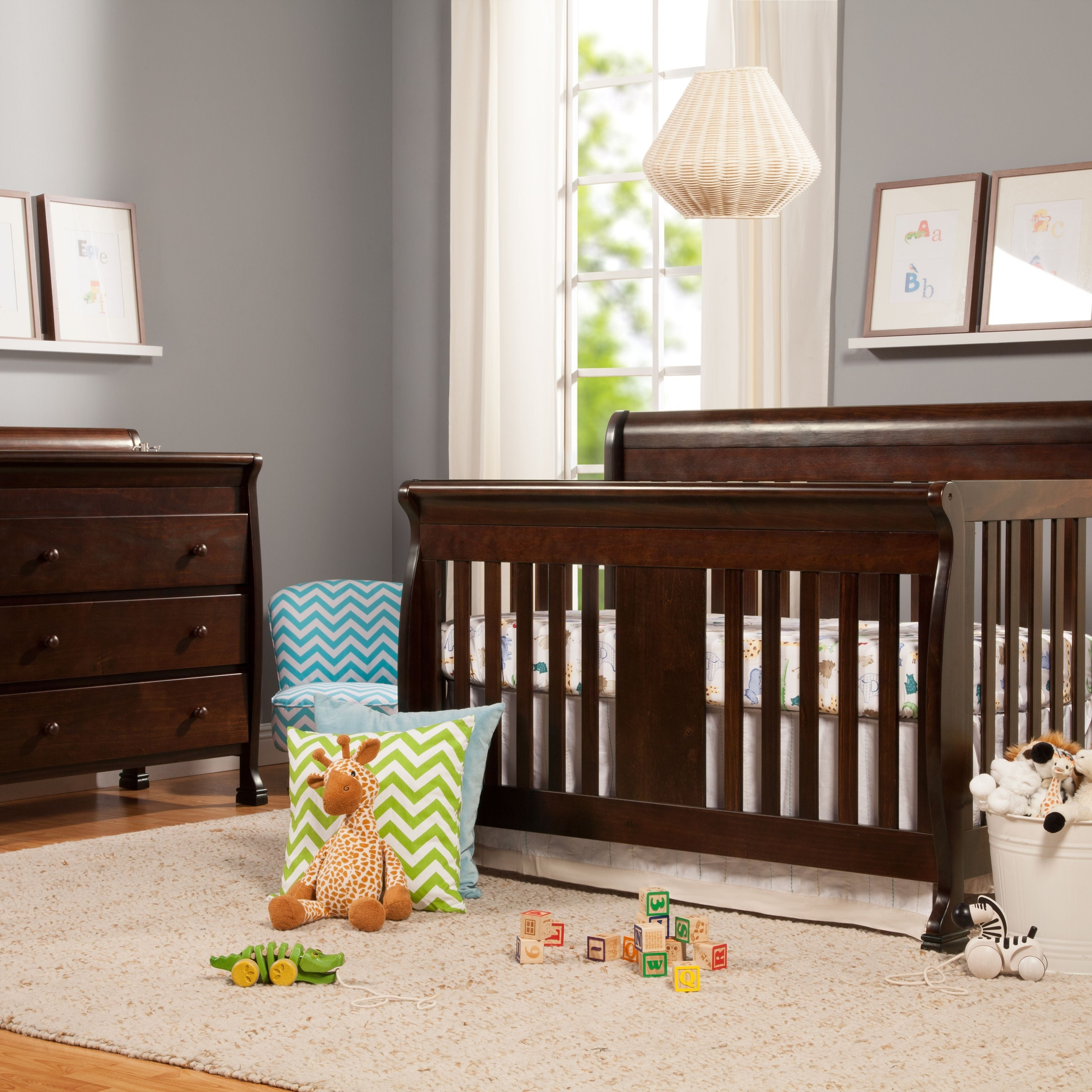 with sleigh honey rail cribs kalani convertible crib by davinci in oak simplykidsfurniture baby toddler at