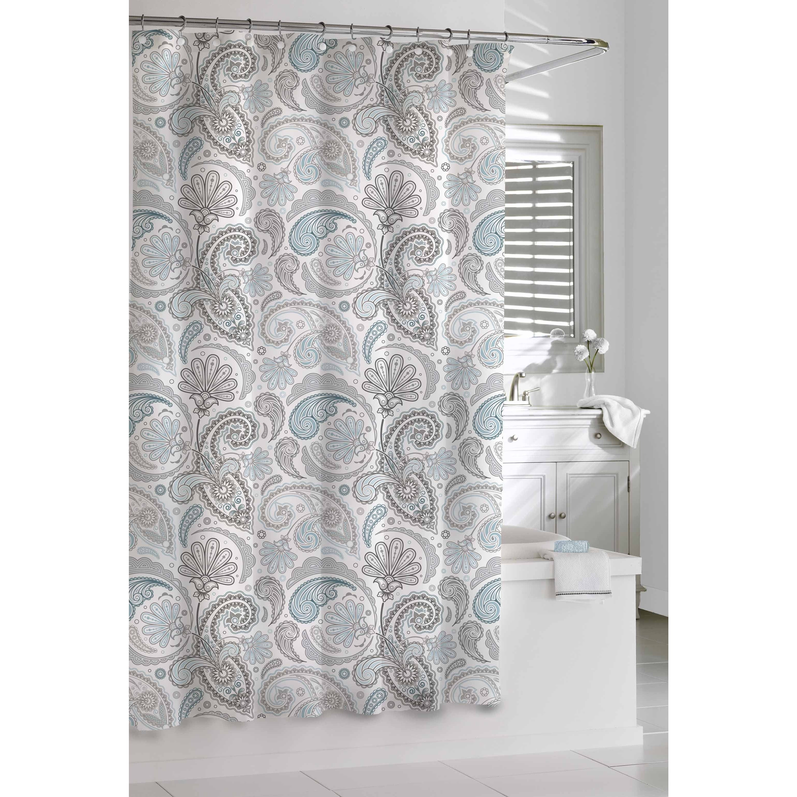 Shop Garden Paisley Blue Grey Shower Curtain - Free Shipping On ...