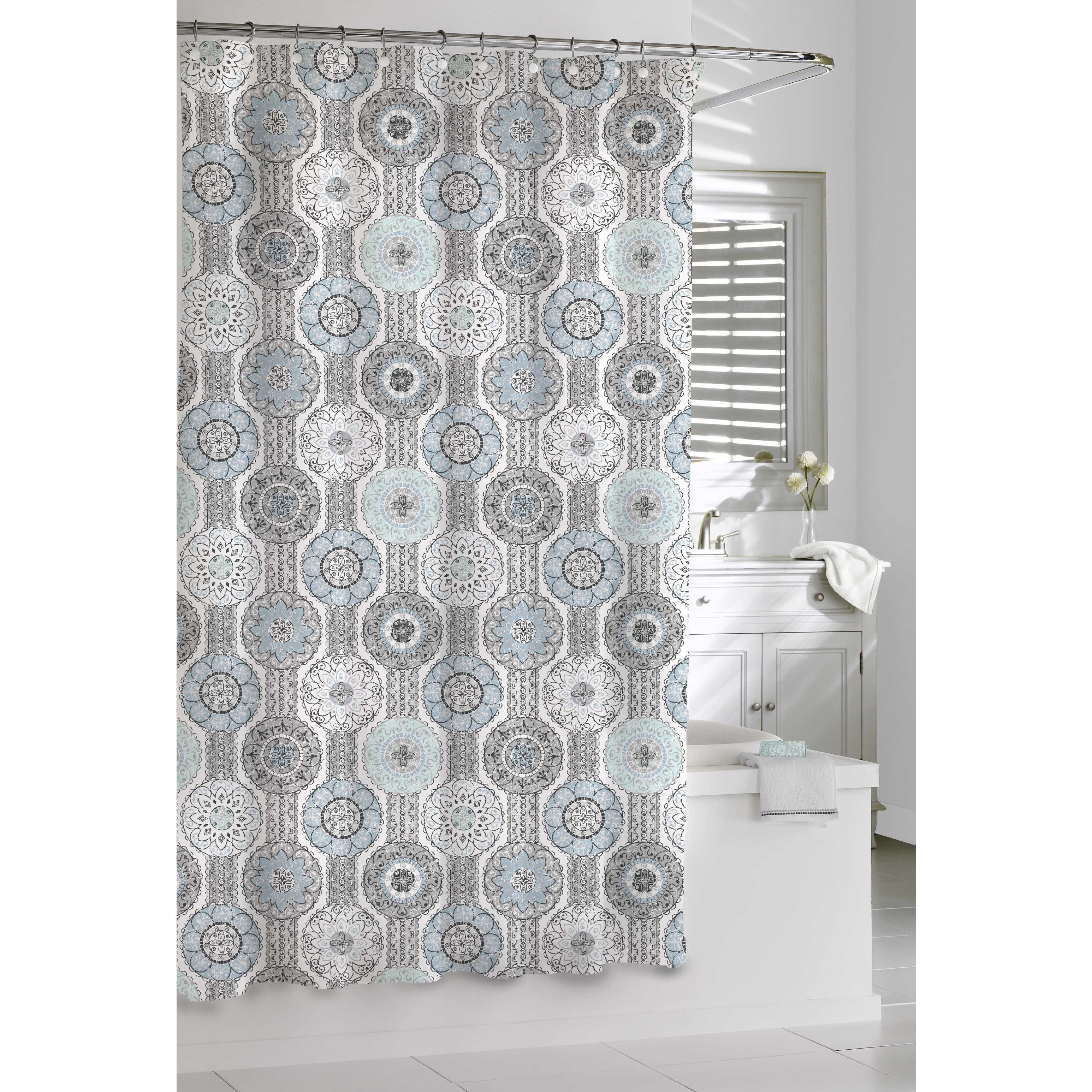 Shop Mosaic Blue and Grey Shower Curtain - Free Shipping On Orders ...