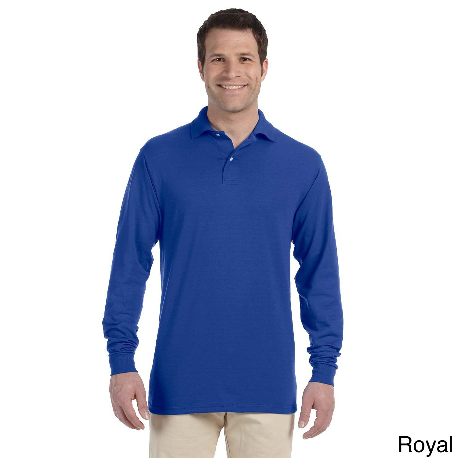 eb5b8c6d9 Shop Jerzees Men's 50/50 Long Sleeve Jersey Polo - On Sale - Free Shipping  On Orders Over $45 - Overstock - 8976084