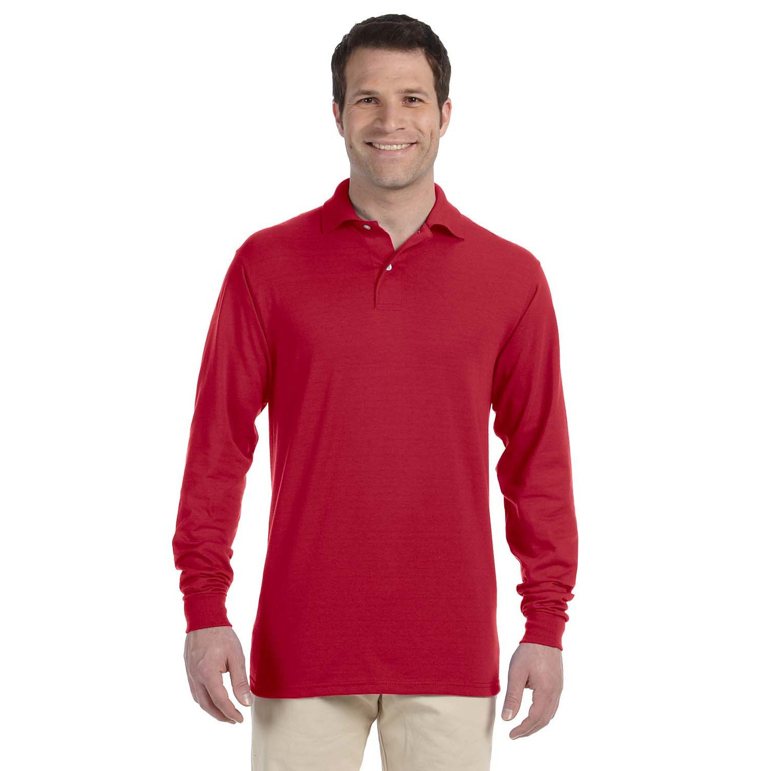 e1e26b1d32c Shop Jerzees Men's 50/50 Long Sleeve Jersey Polo - On Sale - Free Shipping  On Orders Over $45 - Overstock - 8976084