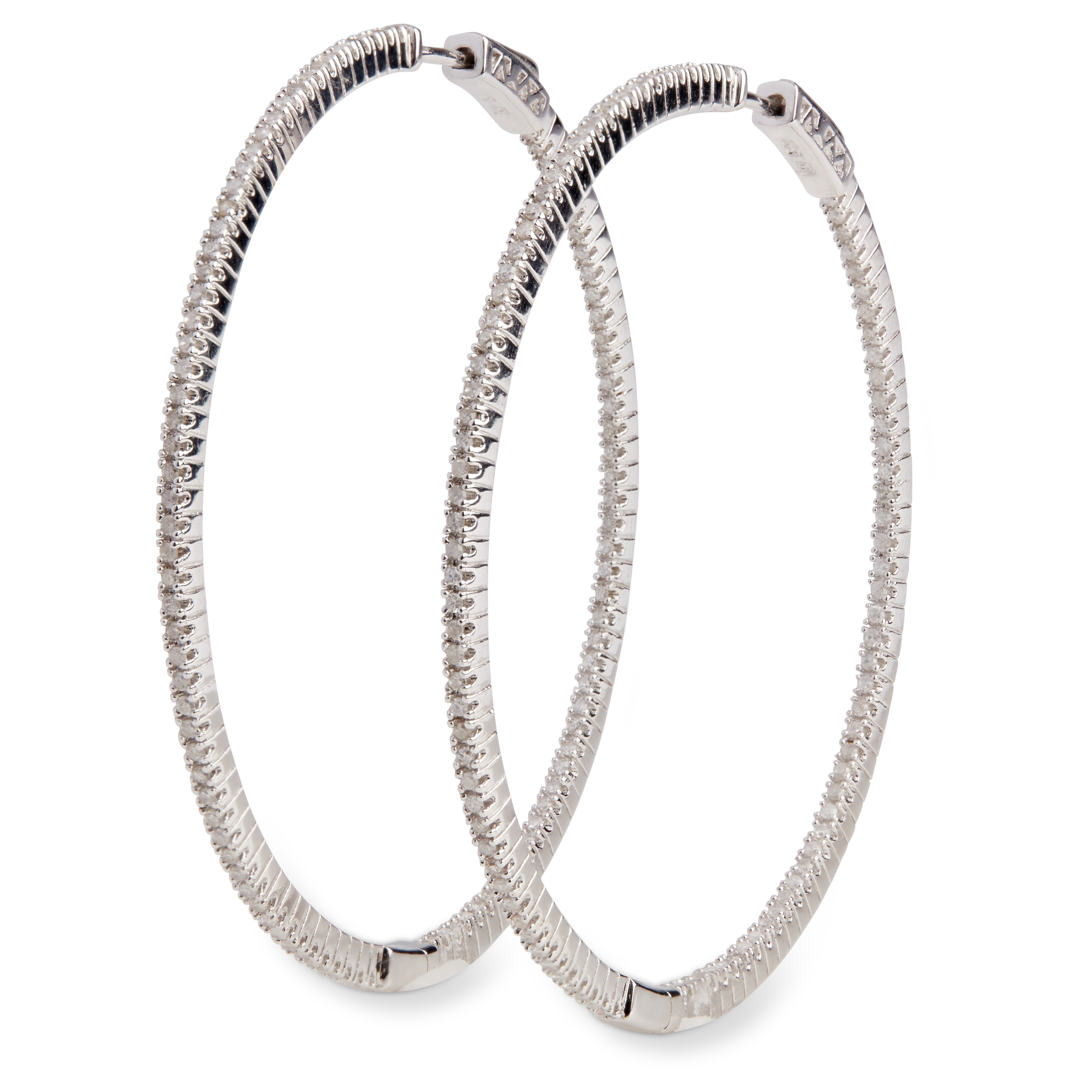 Miadora Sterling Silver 1ct Tdw Diamond Thin Hoop Earrings On Free Shipping Today 8979088