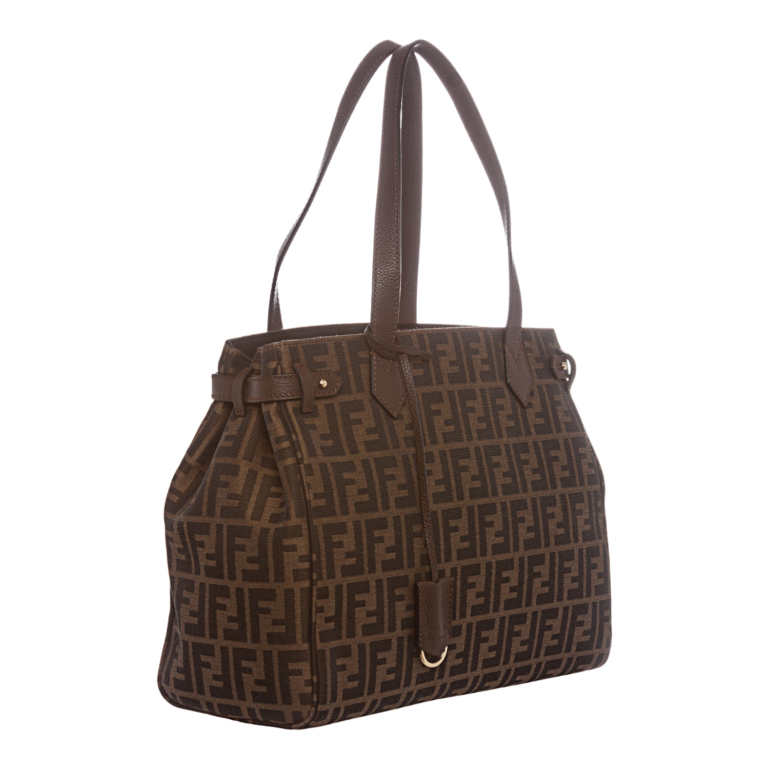 ab69ad1b017a Shop Fendi Tobacco Zucca Print Zip Tote - Free Shipping Today - Overstock.com  - 8979136