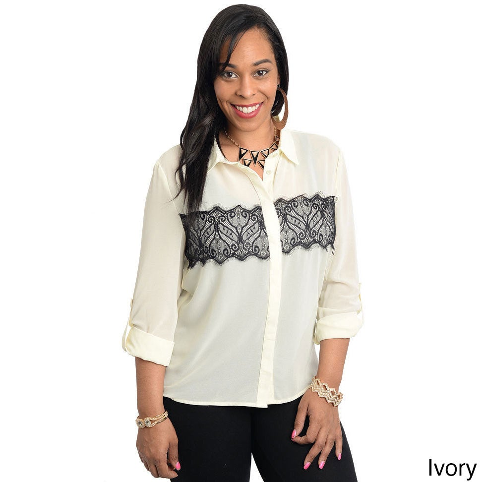289926777 Shop Stanzino Women's Plus Size Lace Detailed Button Down Shirt - Free  Shipping On Orders Over $45 - Overstock - 8983723