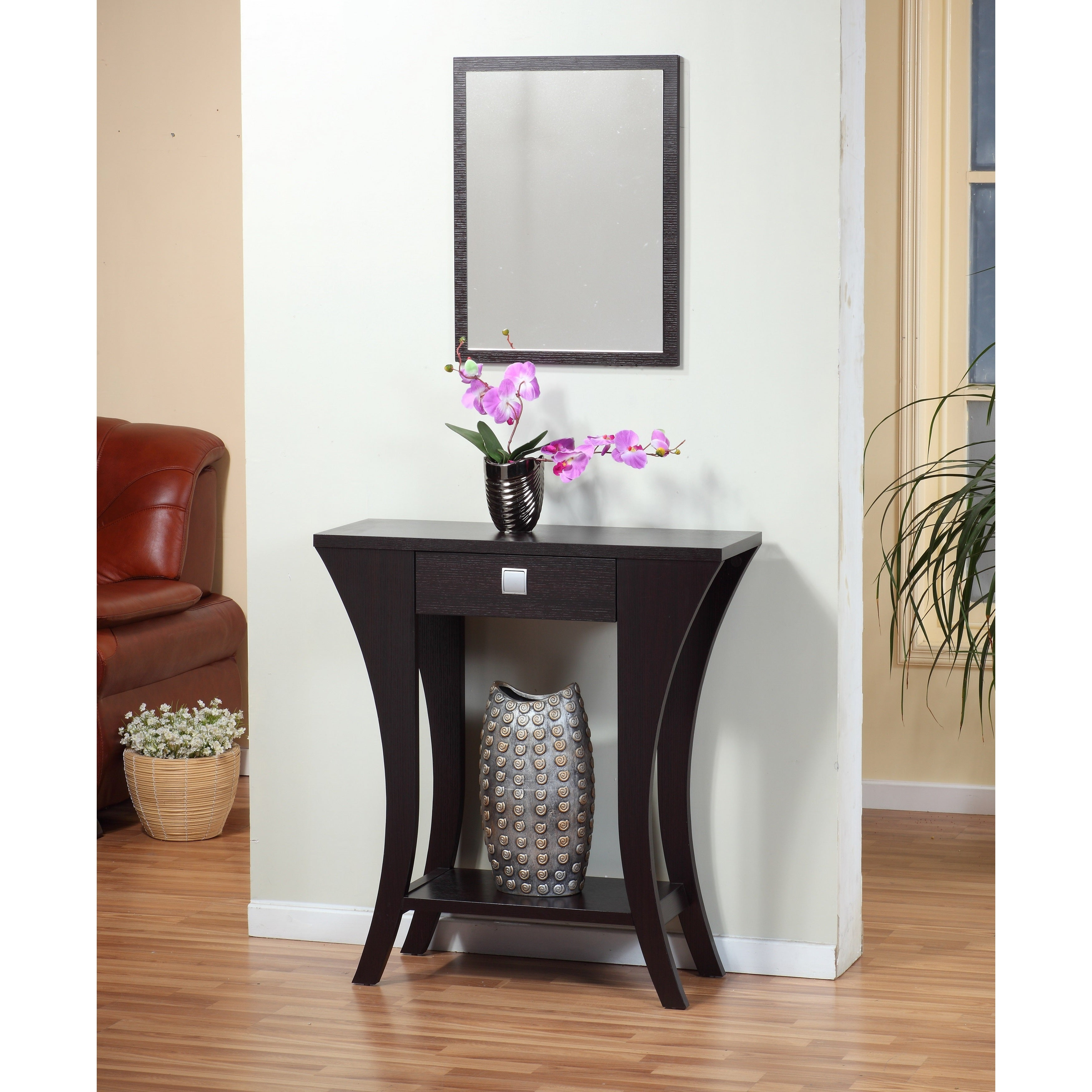 Cuccino Finish Sofa Entry Console Table With Drawer Free Shipping Today 8983987