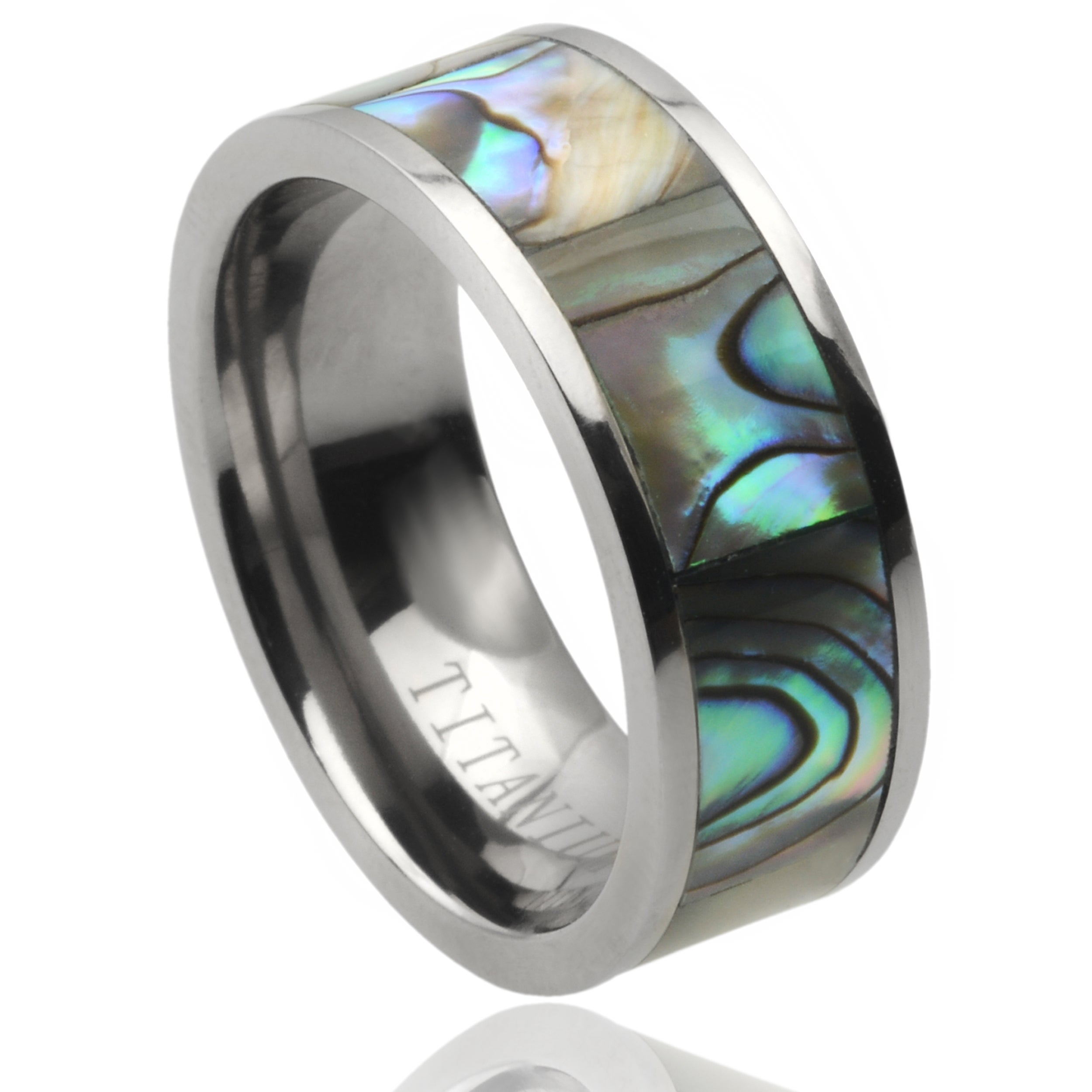 wedding abalone set on hand ladies pin mens band rings