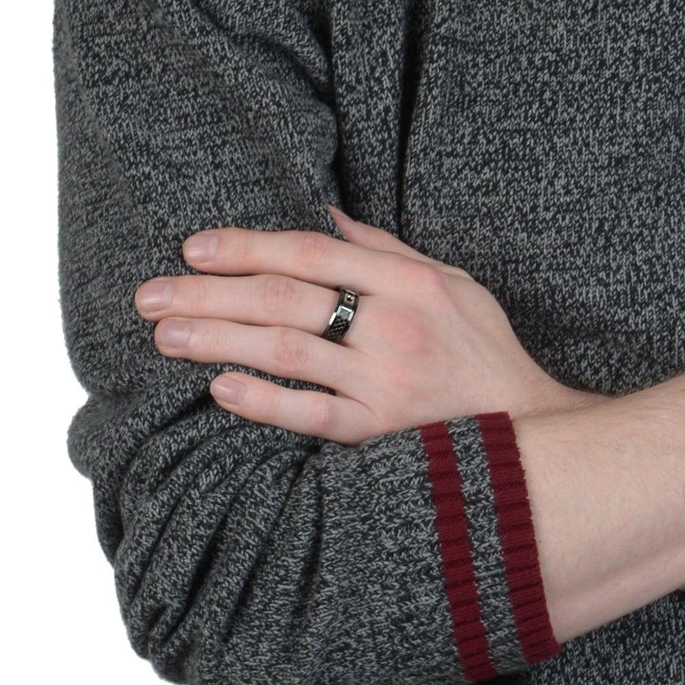 Shop Men\'s Ceramic Black Diamond 1/10 TDW Accent Carbon Fiber Band ...