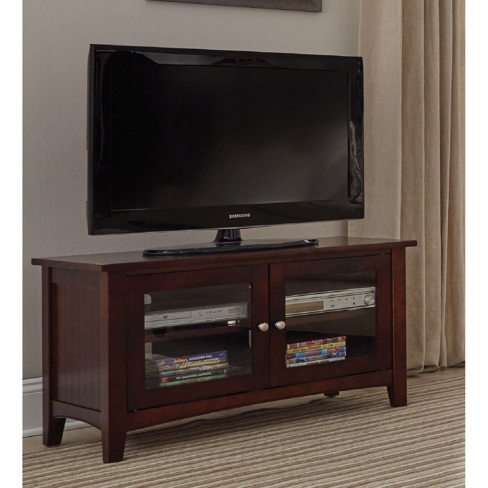 Shop Copper Grove Taber 36 Inch Wood Tv Stand With Glass Doors