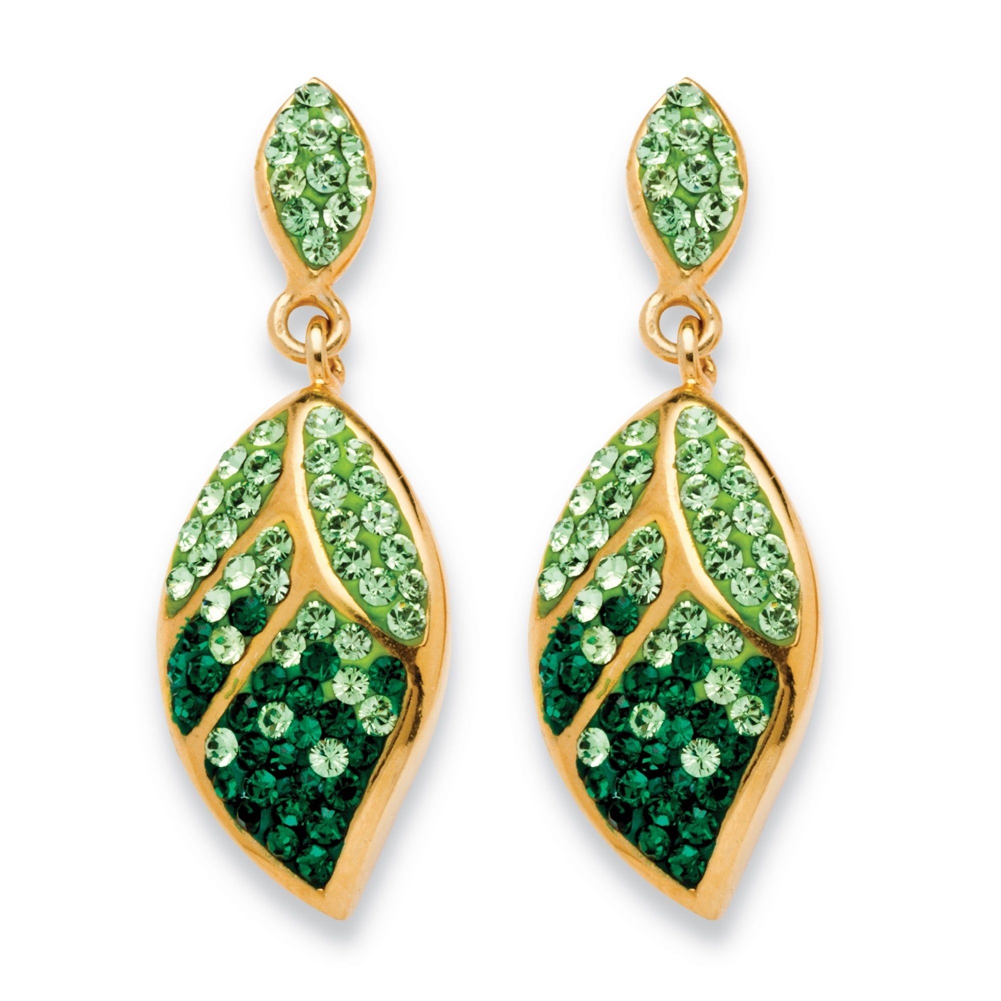 Pave Crystal Green Leaf Drop Earrings Made With Swarovski Elements In Yellow Gold Tone Col On Free Shipping Orders Over 45