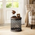 Madison Park Cirque Reclaimed Grey Quatrefoil Metal Drum Table