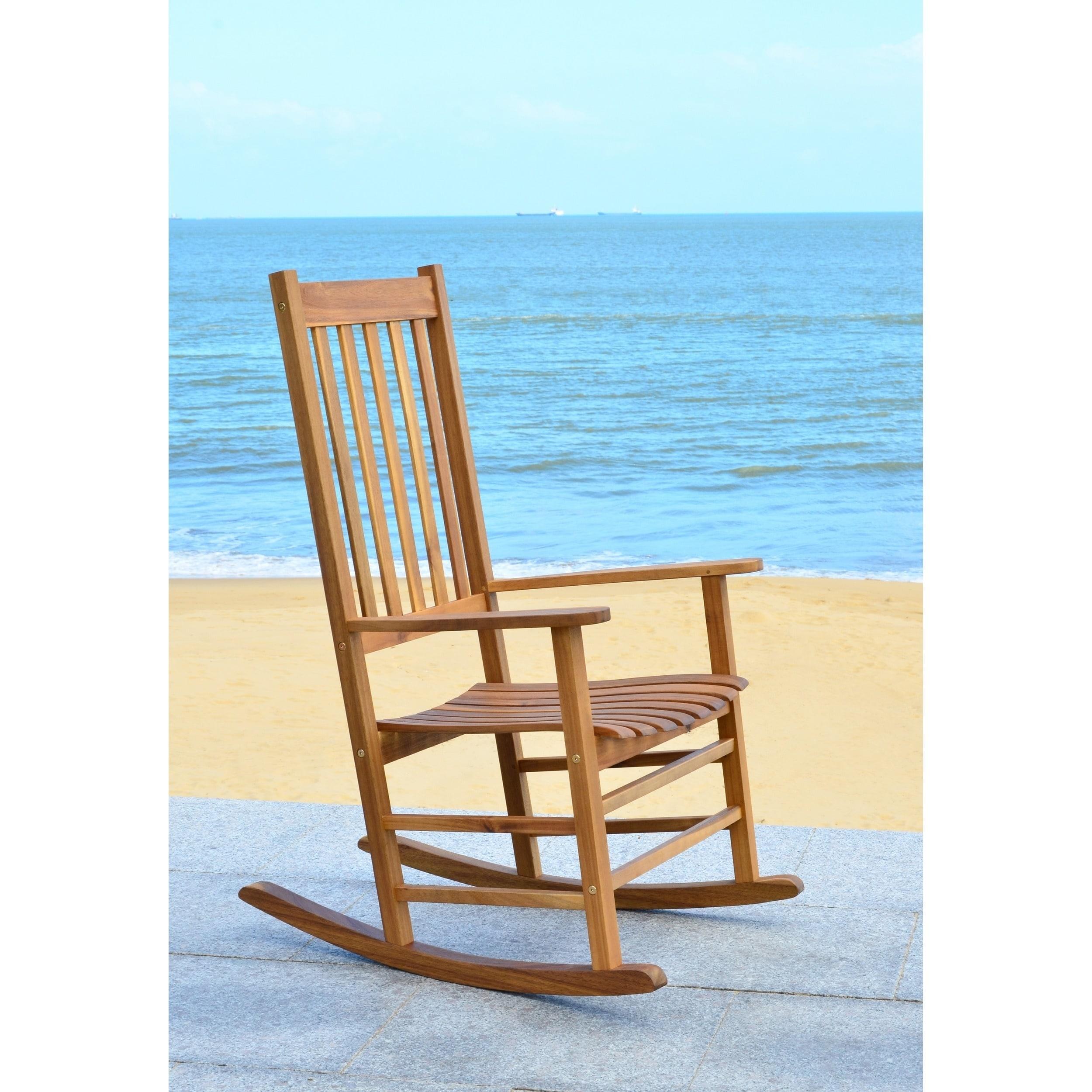 Shop Safavieh Shasta Finish Brown Acacia Wood Rocking Chair - On ...