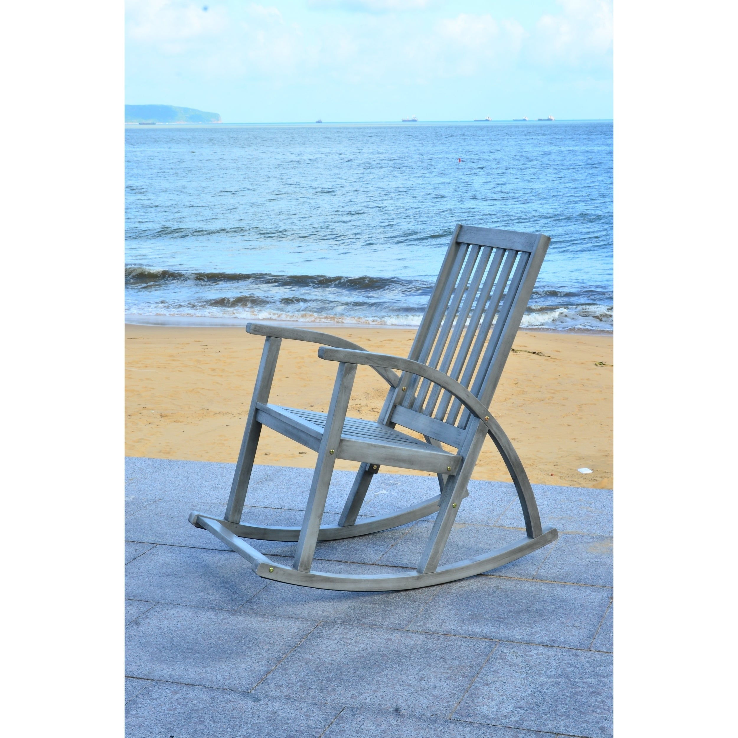 Shop Safavieh Clayton Grey Wash Acacia Wood Rocking Chair - On Sale ...