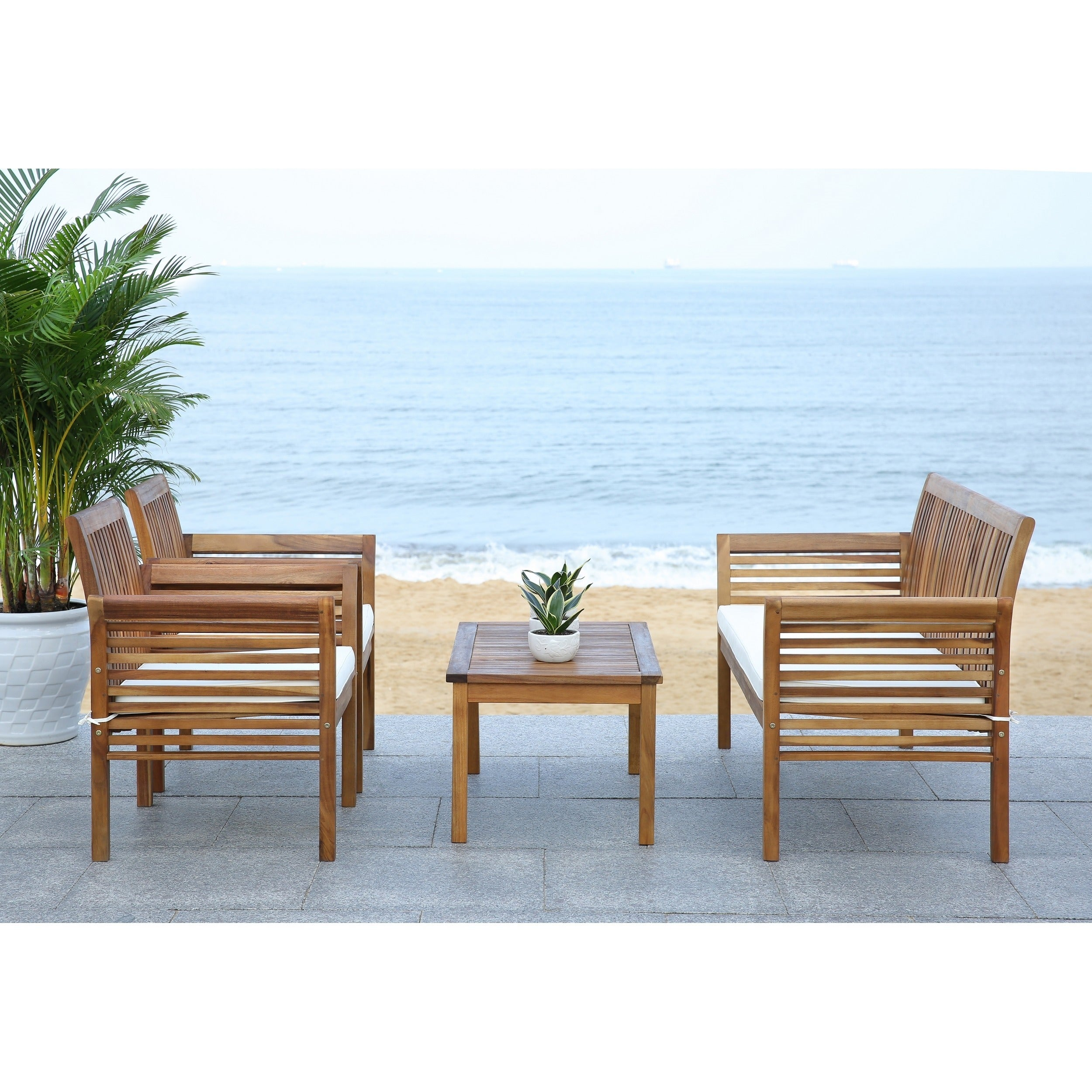 Shop Safavieh Carson Acacia Wood 4 Piece Outdoor Furniture Set
