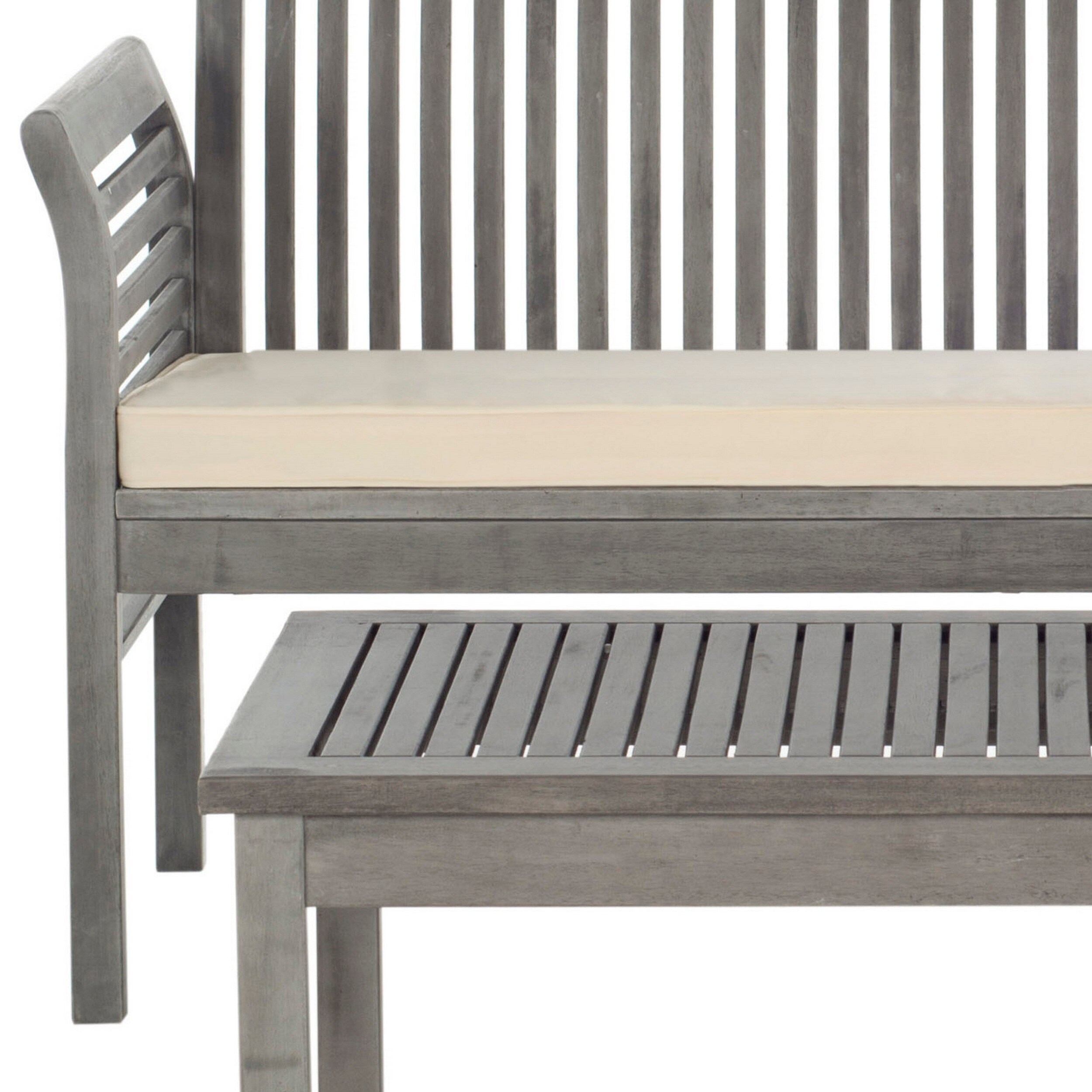Shop safavieh carson grey wash acacia wood 4 piece outdoor furniture set free shipping today overstock com 9003741