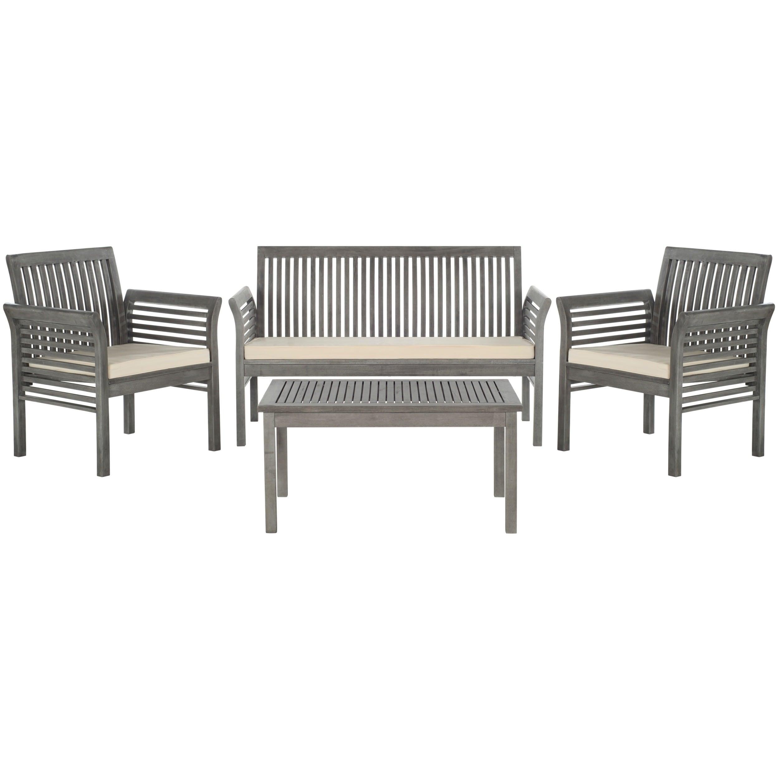 Safavieh Carson Grey Wash Acacia Wood 4 Piece Outdoor Furniture Set Free Shipping Today 16207347