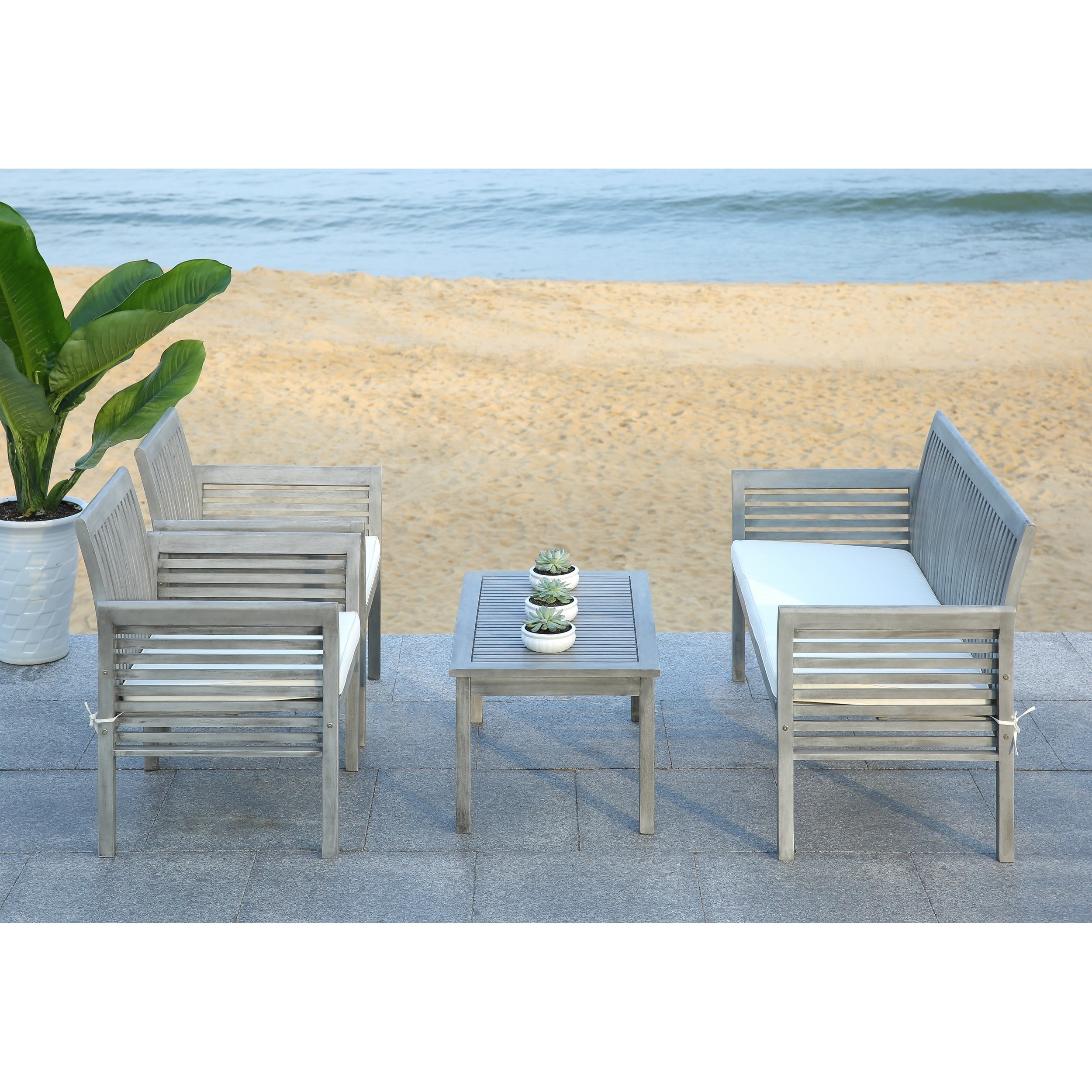 Safavieh Carson Grey Wash Acacia Wood 4 Piece Outdoor Furniture Set Free Shipping Today 16207347