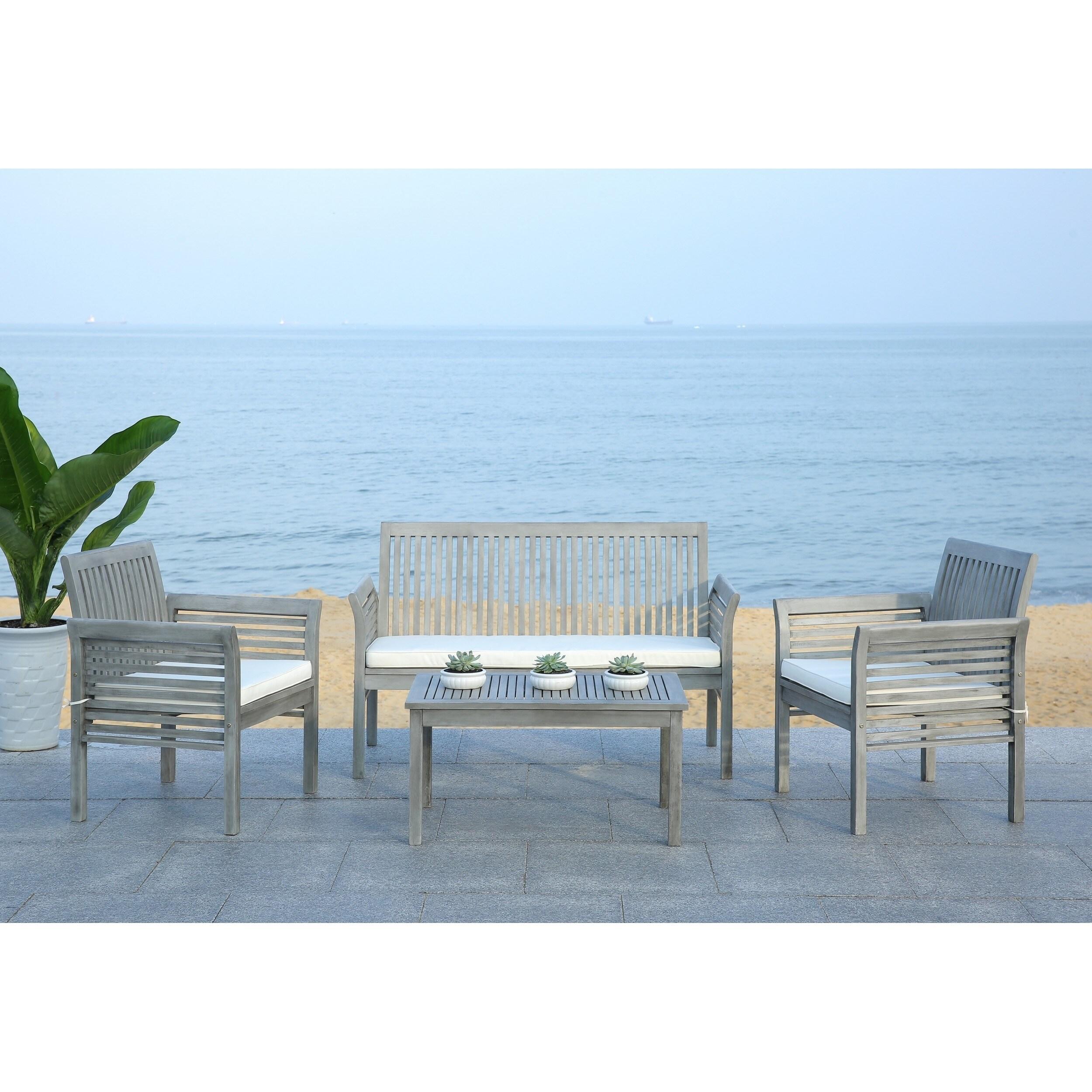 Safavieh Carson Grey Wash Acacia Wood 4-piece Outdoor Furniture Set Shop