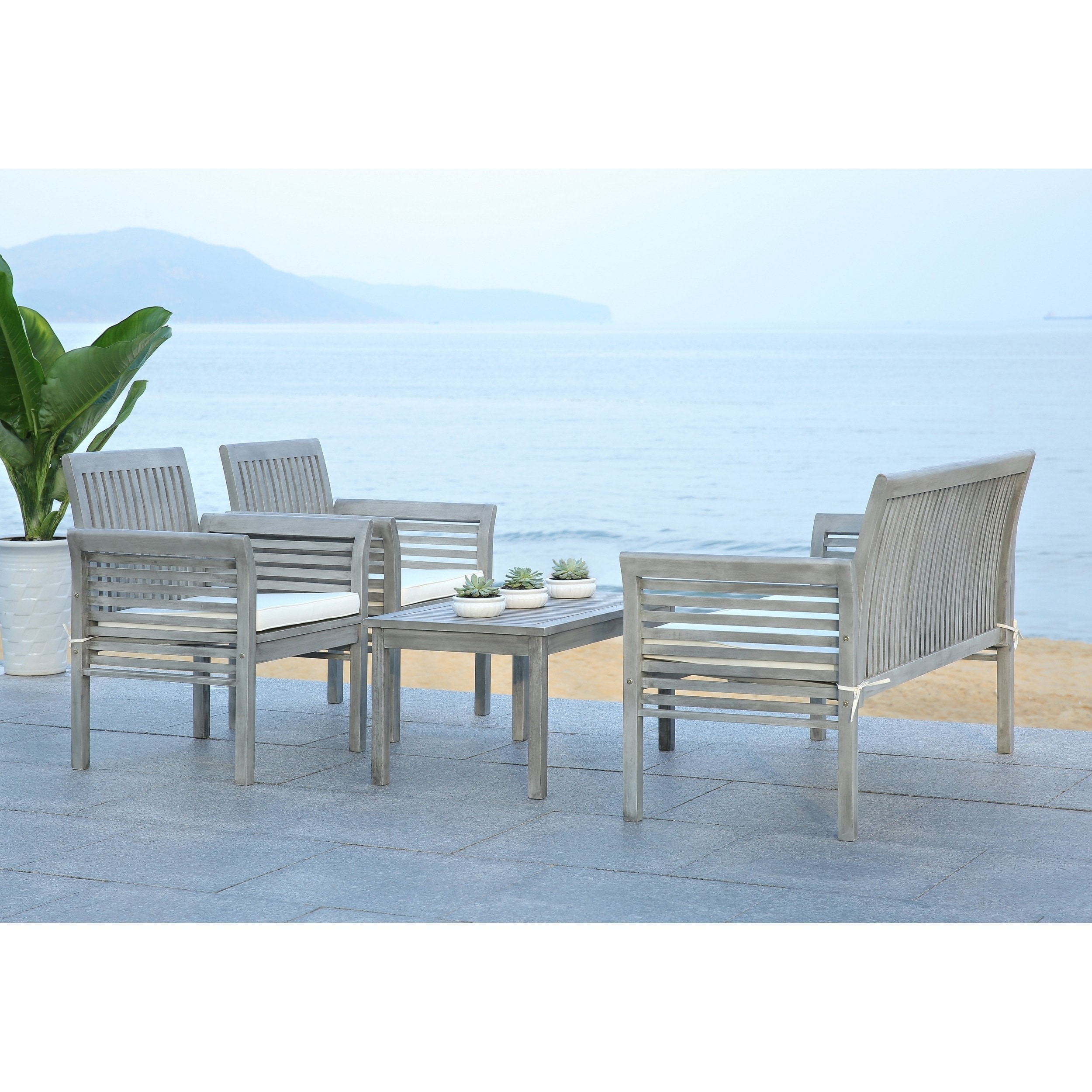 Shop Safavieh Carson Grey Wash Acacia Wood 4 Piece Outdoor Furniture Set    On Sale   Free Shipping Today   Overstock.com   9003741