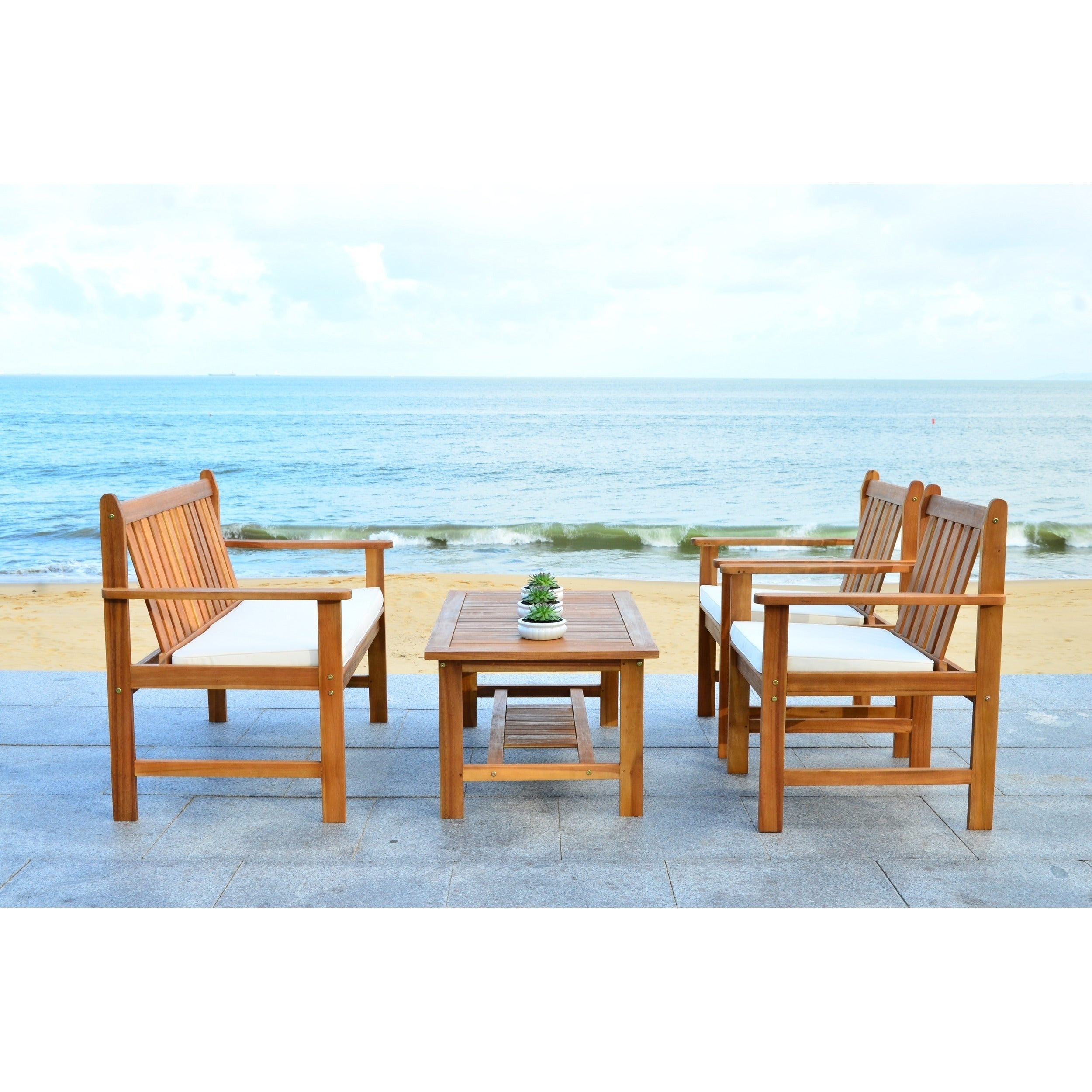 Shop Safavieh Burbank Brown Acacia Wood 4 Piece Outdoor Furniture Set   On  Sale   Free Shipping Today   Overstock.com   9003742