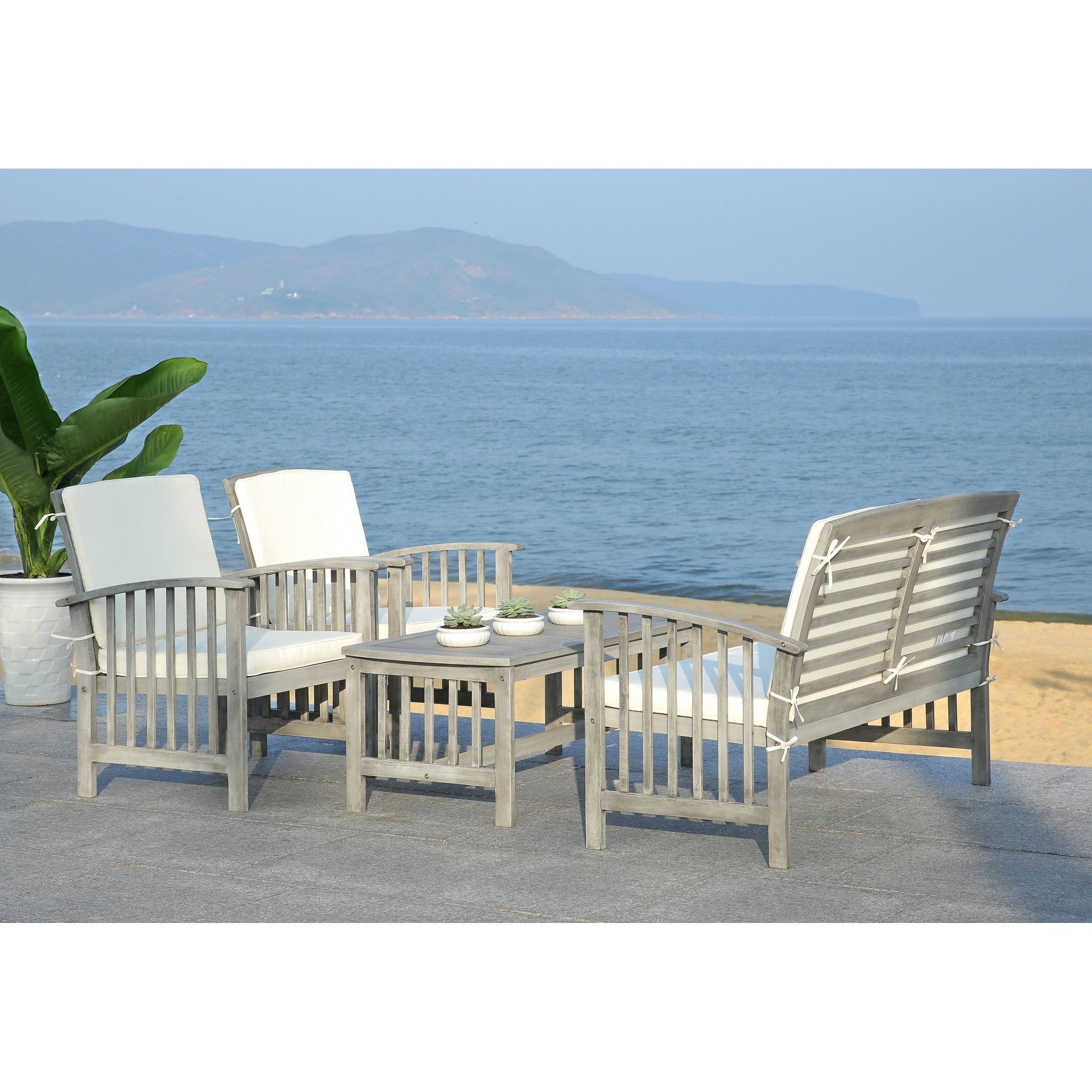 Safavieh Rocklin Grey Wash Acacia Wood 4-piece Outdoor Furniture ...
