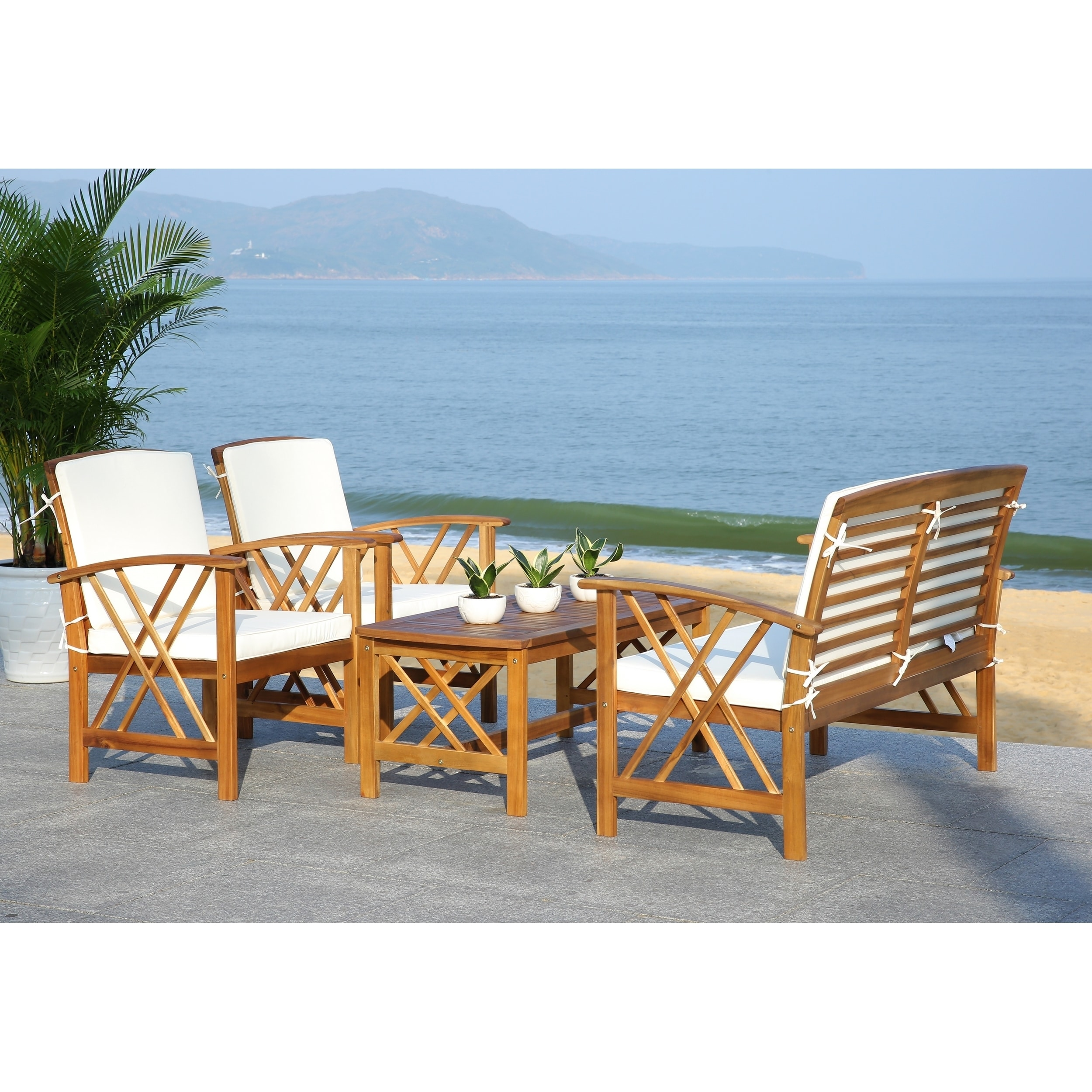 Safavieh Fontana Beige Acacia Wood 4-piece Outdoor Furniture Set - Free  Shipping Today - Overstock.com - 16207351