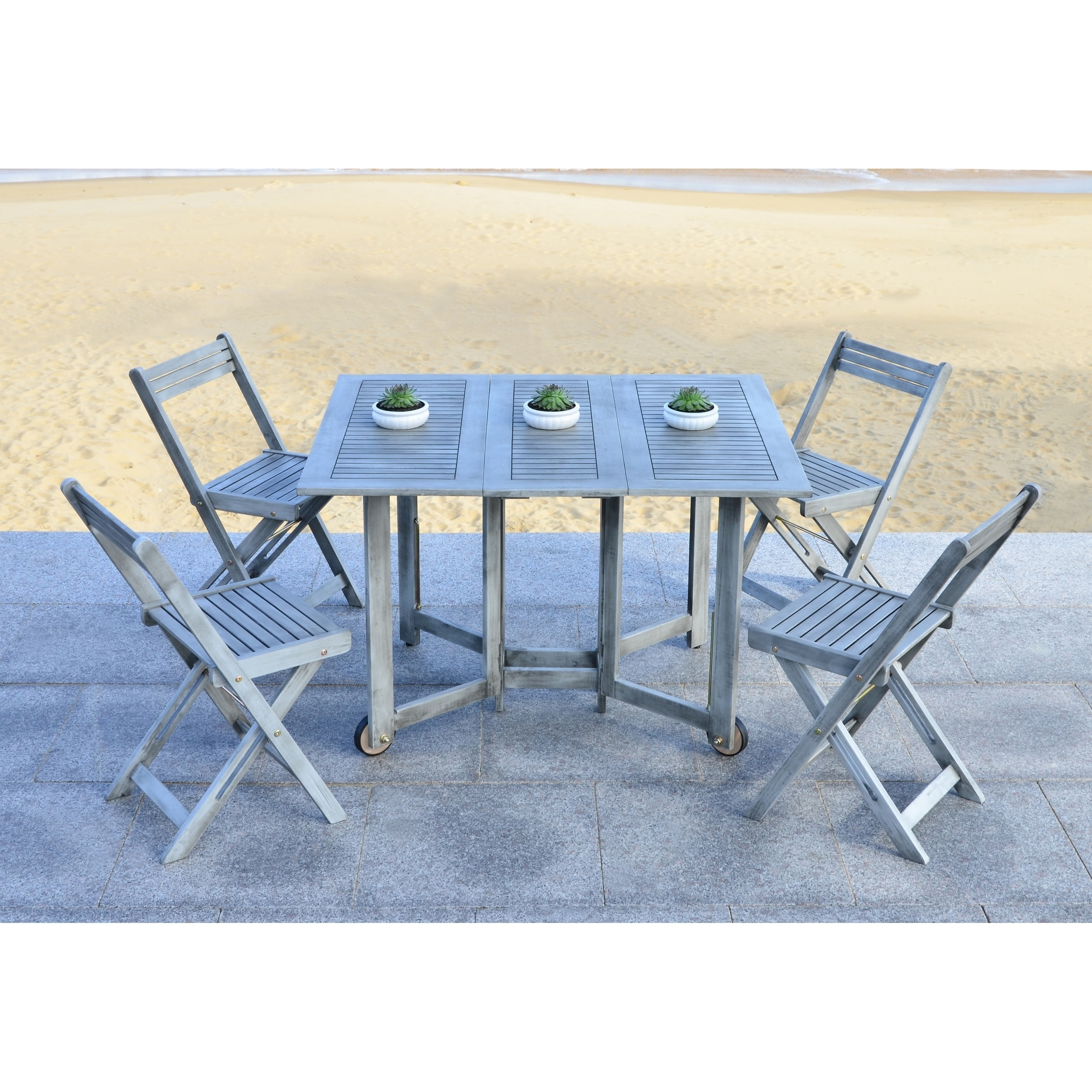 Shop Safavieh Arvin Grey Wash Acacia Wood 5 Piece Outdoor Dining Table Set    Free Shipping Today   Overstock.com   9003751