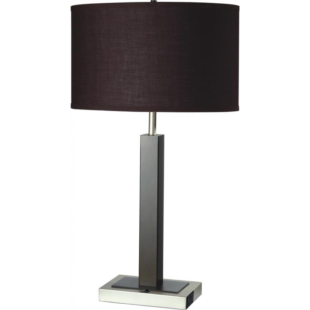 Shop Single Light Espresso Brown Metal Table Lamp With Outlet Base   Free  Shipping Today   Overstock.com   9003854