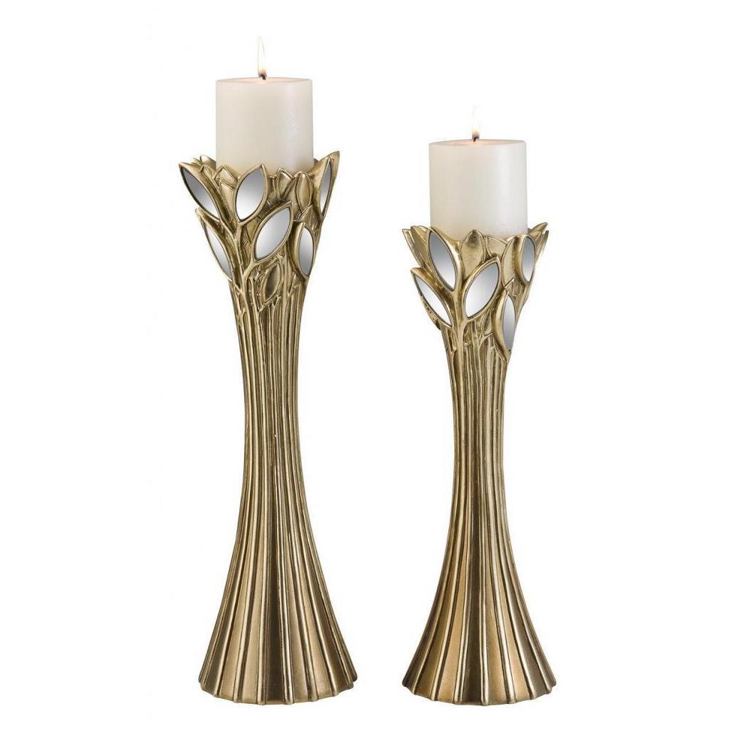 Gaia Gold 2-piece Candle Holder Set